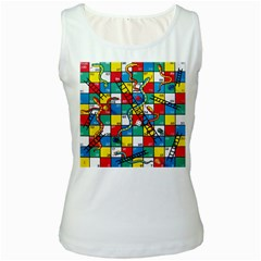 Snakes And Ladders Women s White Tank Top