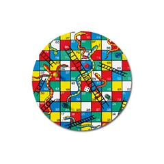 Snakes And Ladders Magnet 3  (Round)