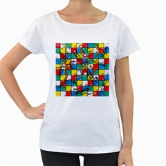 Snakes And Ladders Women s Loose-Fit T-Shirt (White)