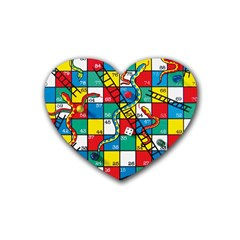 Snakes And Ladders Rubber Coaster (Heart)