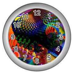 Colored Fractal Wall Clocks (Silver)