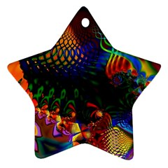 Colored Fractal Star Ornament (Two Sides)
