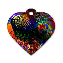 Colored Fractal Dog Tag Heart (Two Sides)