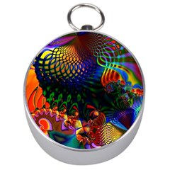 Colored Fractal Silver Compasses