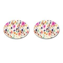 Vector Floral Art Cufflinks (Oval)