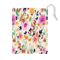 Vector Floral Art Drawstring Pouches (Extra Large)