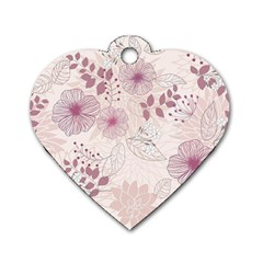 Leaves Pattern Dog Tag Heart (Two Sides)