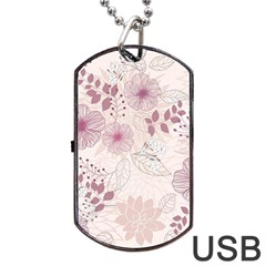 Leaves Pattern Dog Tag USB Flash (One Side)