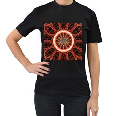 Circle Pattern Women s T-Shirt (Black) (Two Sided)