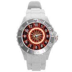 Circle Pattern Round Plastic Sport Watch (L)