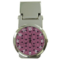 Triangle Knot Pink And Black Fabric Money Clip Watches