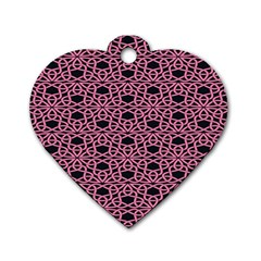 Triangle Knot Pink And Black Fabric Dog Tag Heart (Two Sides)