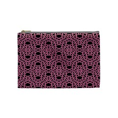Triangle Knot Pink And Black Fabric Cosmetic Bag (Medium)