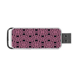 Triangle Knot Pink And Black Fabric Portable USB Flash (One Side)