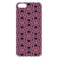 Triangle Knot Pink And Black Fabric Apple iPhone 5 Seamless Case (White)