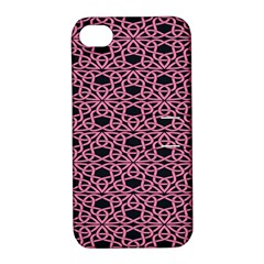 Triangle Knot Pink And Black Fabric Apple iPhone 4/4S Hardshell Case with Stand