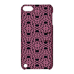 Triangle Knot Pink And Black Fabric Apple iPod Touch 5 Hardshell Case with Stand