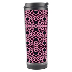 Triangle Knot Pink And Black Fabric Travel Tumbler