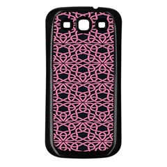 Triangle Knot Pink And Black Fabric Samsung Galaxy S3 Back Case (Black)
