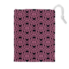 Triangle Knot Pink And Black Fabric Drawstring Pouches (Extra Large)