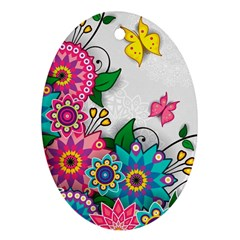 Flowers Pattern Vector Art Ornament (Oval)