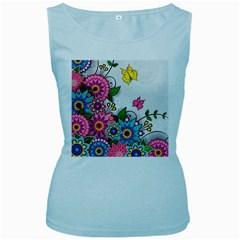 Flowers Pattern Vector Art Women s Baby Blue Tank Top