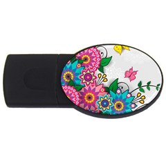 Flowers Pattern Vector Art USB Flash Drive Oval (2 GB)