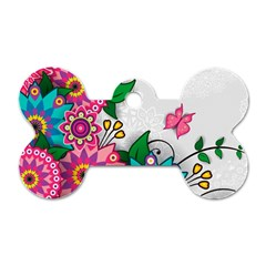 Flowers Pattern Vector Art Dog Tag Bone (One Side)