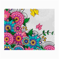 Flowers Pattern Vector Art Small Glasses Cloth (2-Side)
