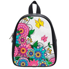 Flowers Pattern Vector Art School Bags (Small)