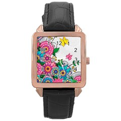 Flowers Pattern Vector Art Rose Gold Leather Watch