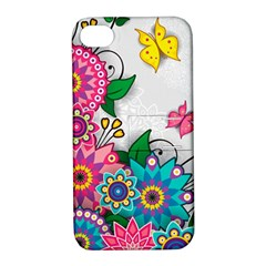 Flowers Pattern Vector Art Apple iPhone 4/4S Hardshell Case with Stand