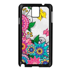 Flowers Pattern Vector Art Samsung Galaxy Note 3 N9005 Case (Black)