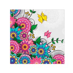Flowers Pattern Vector Art Small Satin Scarf (Square)