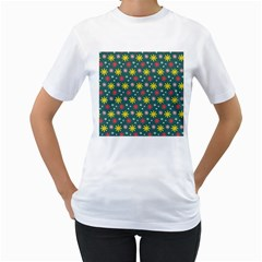 The Gift Wrap Patterns Women s T-Shirt (White) (Two Sided)