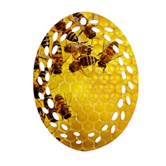 Honey Honeycomb Oval Filigree Ornament (Two Sides)