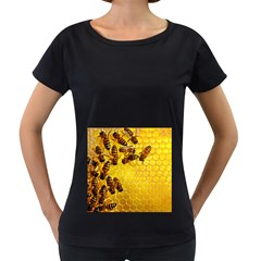 Honey Honeycomb Women s Loose-Fit T-Shirt (Black)