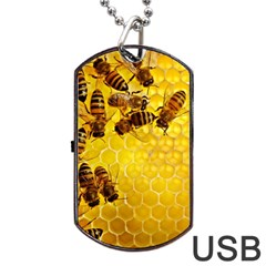 Honey Honeycomb Dog Tag USB Flash (One Side)