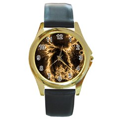 Space Round Gold Metal Watch