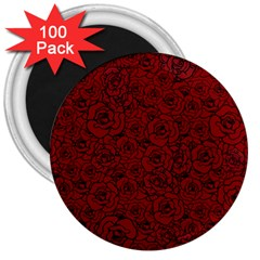 Red Roses Field 3  Magnets (100 Pack)