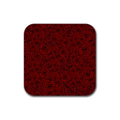 Red Roses Field Rubber Square Coaster (4 Pack)