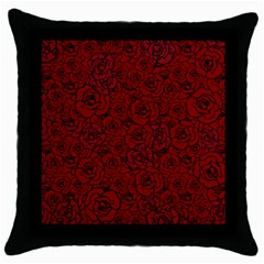 Red Roses Field Throw Pillow Case (black)