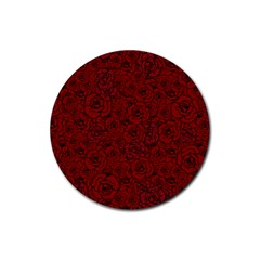 Red Roses Field Rubber Round Coaster (4 Pack)