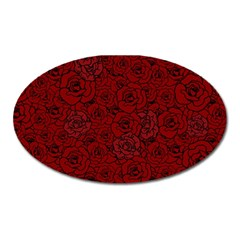 Red Roses Field Oval Magnet
