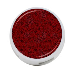 Red Roses Field 4 Port Usb Hub (two Sides)