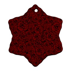 Red Roses Field Snowflake Ornament (two Sides)