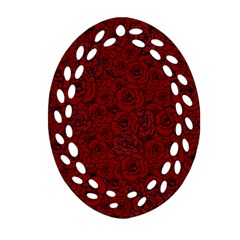 Red Roses Field Ornament (oval Filigree)