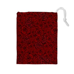 Red Roses Field Drawstring Pouches (large)