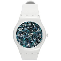 Old Spiderwebs On An Abstract Glass Round Plastic Sport Watch (M)