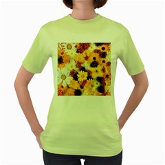 Colorful Flowers Pattern Women s Green T-Shirt